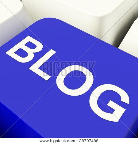 Blog Computer Key In Blue For Blogger Website