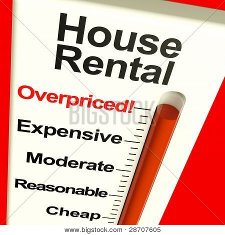 House Rental Overpriced Monitor Showing Expensive Housing Costs
