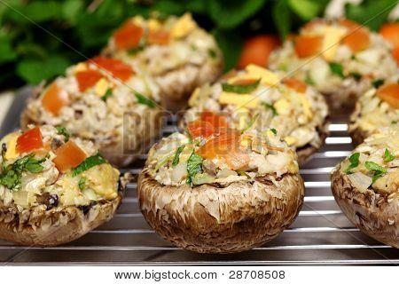 gefüllte Portabella Pilze