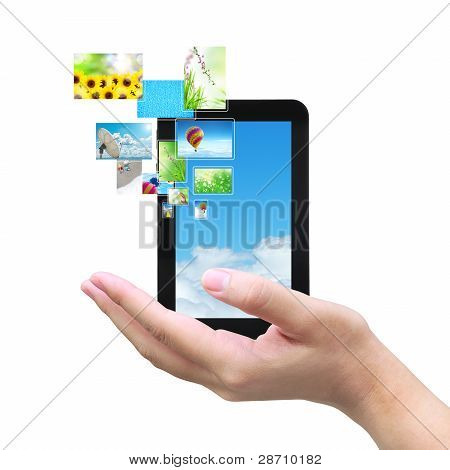 touch pad PC and streaming images virtual buttons on women hand