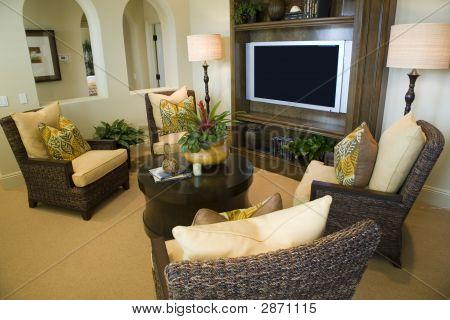 Sala de estar de la casa de lujo