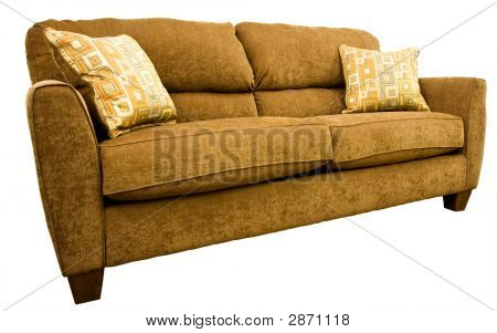 Living Room Sofa With Colorful Throw Pillows