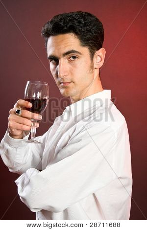 Glamour Man With Bocal Of Red Wine.