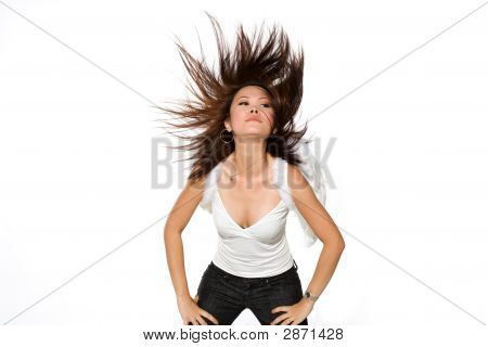 Woman With Angel Wings Flinging Her Hair