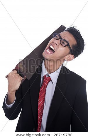 Frustated Businessman Cuting His Neck