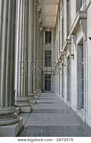 Law Building Stone Columns