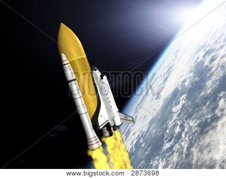 Shuttle Leaving Earth 3D Render