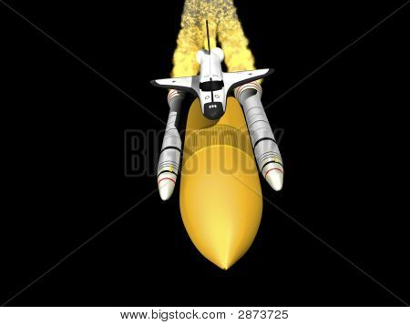 Space Shuttle Black Background Front View