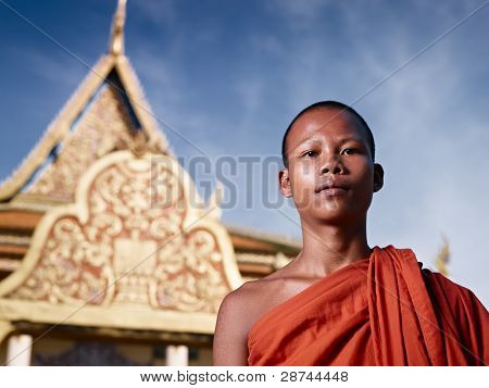 Portrait Of Buddhist Monk Near Temple, Cambodia, Asia