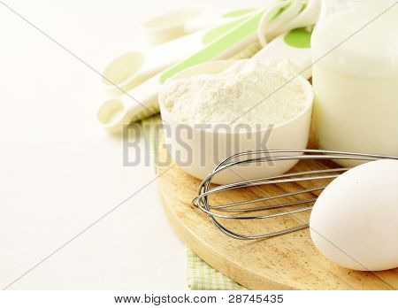 set for baking - eggs, flour and milk