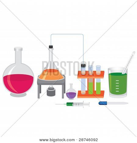 Chemical Experiment With Fluids.