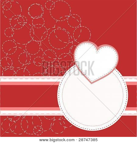 Valentine's red greeting invitation card with love heart