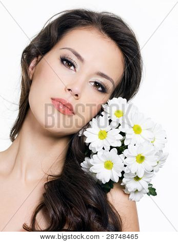 Face Of Woman With  Bouquet Of Flowers