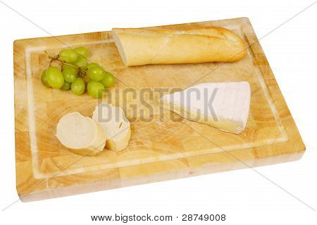 French bread with cheese and grapes
