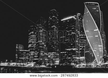 Moscow City Building At Night