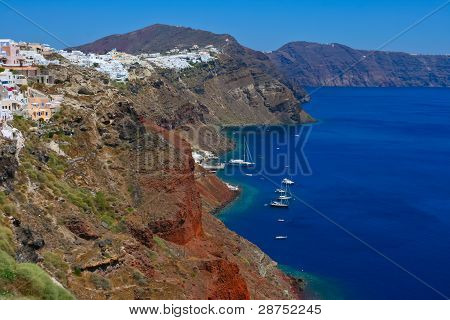 Harbor In Santorini With Yachts