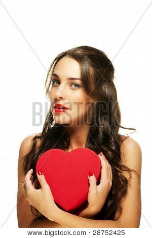 beautiful woman with red lipstick holding red heart