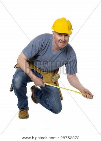 Kneeling Construction Worker Measures
