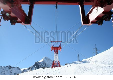 Ski Lifts On Swiss Mountains