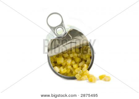 A Can Of Sweetcorn Isolated On White Background