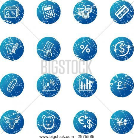 Blue Grunge Finance Icons