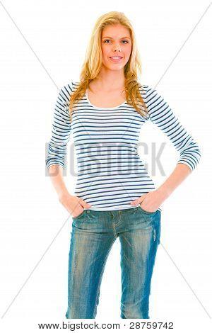 Portrait Of Smiling Beautiful Teen Girl