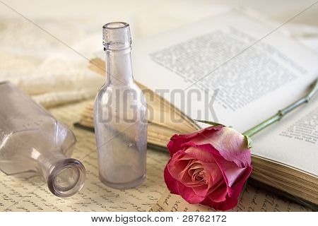 Red Rose And Vintage Apothecary Bottles