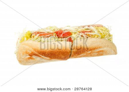 Italian Sub Sandwich Isolated on a White Background