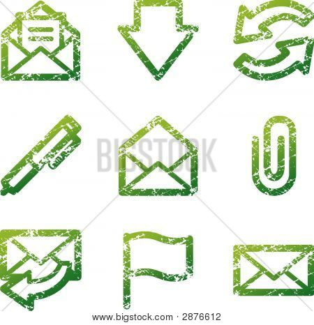 Green Grunge E-Mail Contour Icons V2