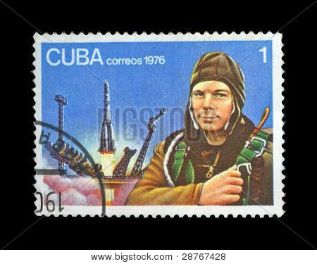 Cuba - Circa 1976: Cancelled Stamp Printed In Cuba, Shows First Russian, Soviet Astronaut Gagarin Y.