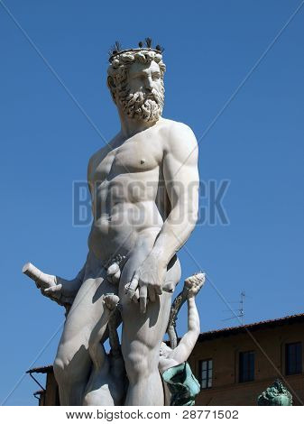 Statue of Neptune as part of the fountain on Piazza della Signoria in Florence