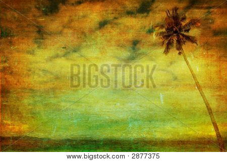 Vintage Image Of Palm Tree On Grunge Background