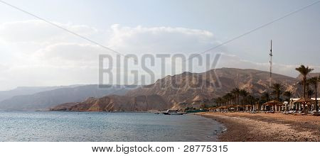 On The Beach. Resort Taba, Sinai, Egypt. Red Sea, Gulf Of Aqaba