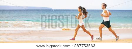 poster of Run fit couple running together on beach banner panoramic background. Two fitness athlete jogging -