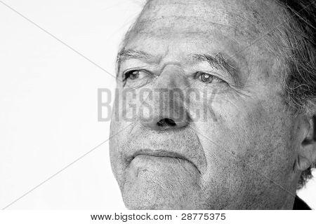 Senior Man Portrait In Black And White