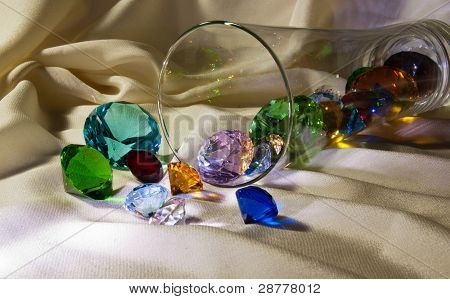 Close-up Overturned Glass With Gems