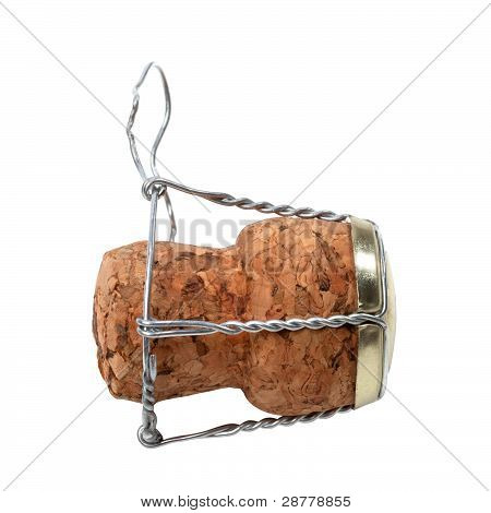 Champagne Wine Cork Isolated On White Background