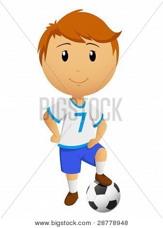 Cartoon Footballer Or Soccer Player With Ball