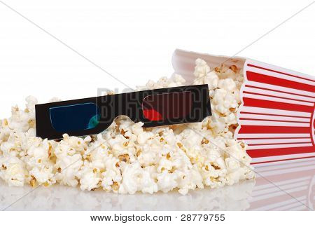 black 3D glasess with spilled popcorn