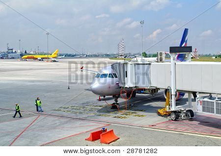 Sofia, Bulgaria - June 04, 2010: Summer Day. Peoples Near The Aeroflot Aircraft On June 04, 2010 In