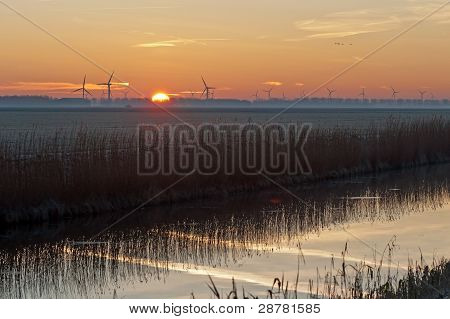 Sunrise in winter over a canal
