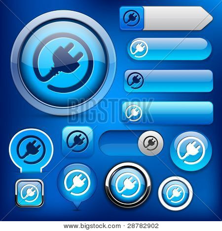 Plug web blue buttons for website or app. Vector eps10.
