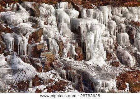 Icicles on a hillside in New Hampshire