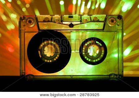 Transparent Cassette Tape Disco Lights Background