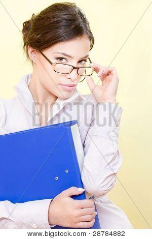 Secretary With Eyeglasses Holding File