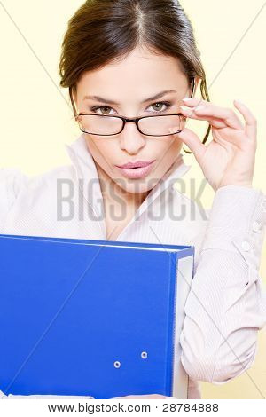 Business Woman With File And Eyeglasses