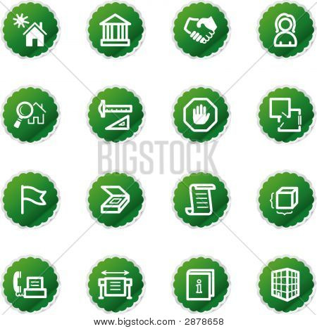 Green Sticker Building Icons