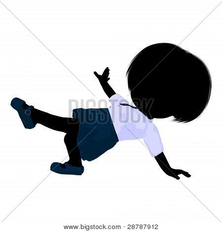Little School Girl Illustration Silhouette