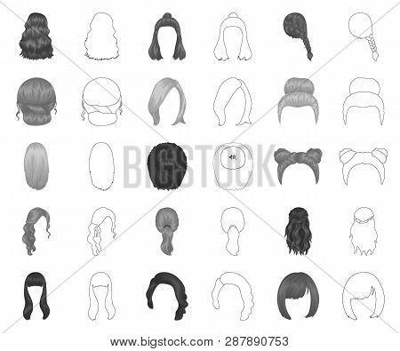 Female Hairstyle Monochrome Outline Icons