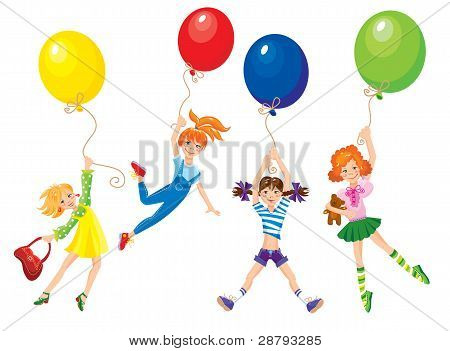 cute girls flying away on balloons